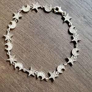 Sterling Silver Stars and Moons Bracelet